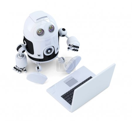 Photo for Robot sit with laptop on white background - Royalty Free Image