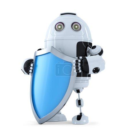 Photo pour Robot avec bouclier. concept de sécurité. isolé. contient un tracé de détourage - image libre de droit
