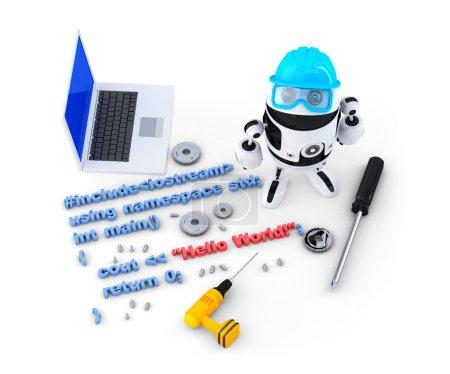 Photo pour Robot avec les outils et le code source de programme. concept technologique. isolé. contient un tracé de détourage - image libre de droit