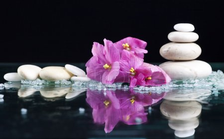 Spa with stones and flowers