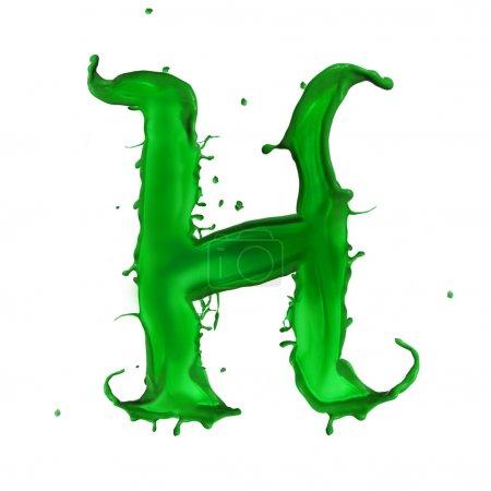 grünes flüssiges Alphabet Buchstabe h