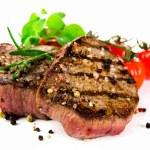 Grilled bbq steak on white background...
