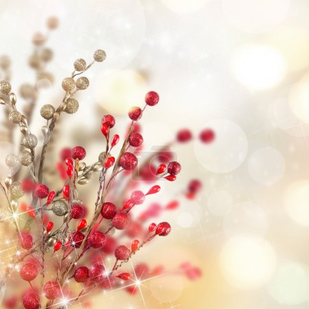 Photo for Christmas gold and red decoration with blur background - Royalty Free Image