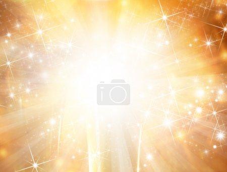 Photo pour Fond de Noël avec des lumières dorées floues - image libre de droit