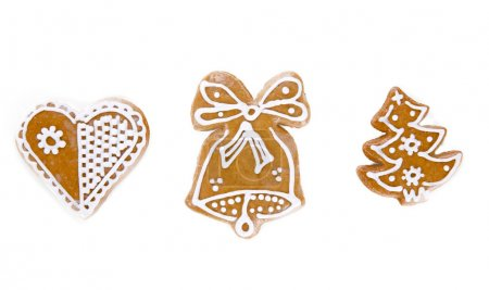 Photo for Traditional gingerbread cookies over white background - Royalty Free Image