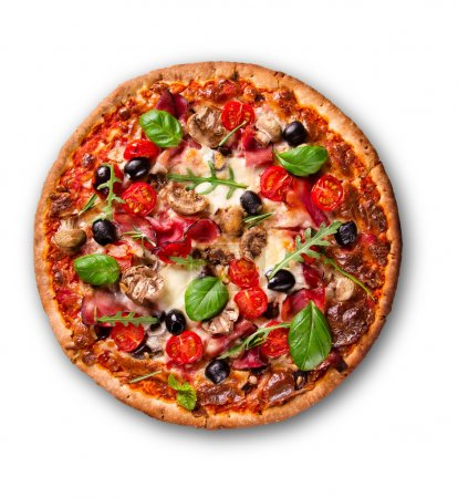 Photo for Delicious italian pizza over white - Royalty Free Image