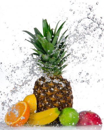Photo for Fresh fruits with water splash isolated on white - Royalty Free Image