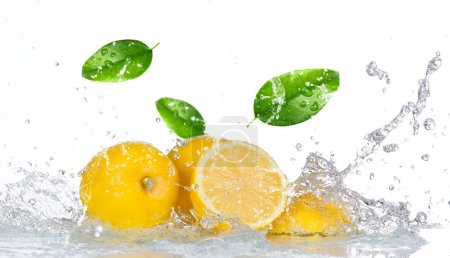 Lemon with water splash