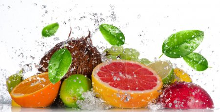 Fresh fruits with water splash