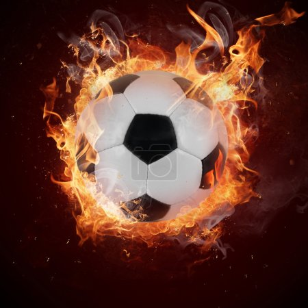 Hot soccer ball in fires flames