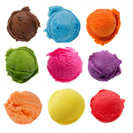 Photo for Ice cream collection on white background - Royalty Free Image