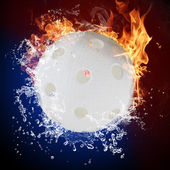 Floorball in fire flames and water splashes