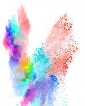 Photo for Launched colorful powder, isolated on white background - Royalty Free Image