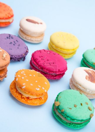 Photo for Colorful french macaroons, close-up. - Royalty Free Image