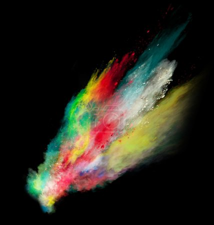 Colored powder in abstract shape isolated on black background