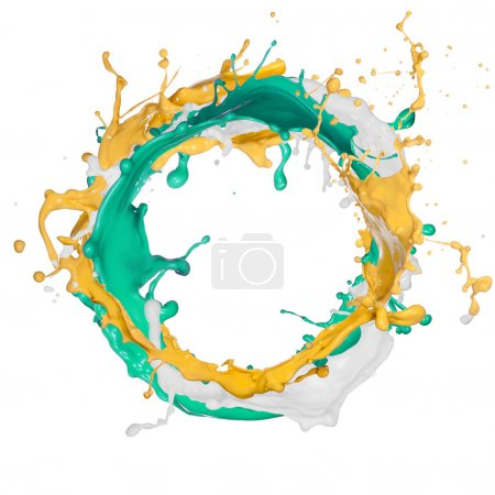 Photo for Colored splash in abstract shape isolated on white background. - Royalty Free Image