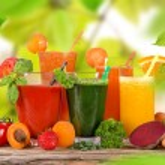 Fresh juice mix fruit, healthy drinks on wooden ta...