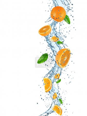 Photo for Fresh fruit in water splash over white background. - Royalty Free Image