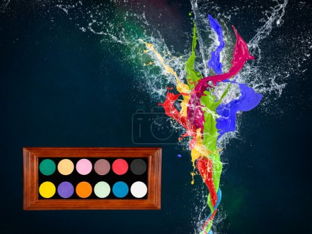 Colorful splashes in abstract shapes