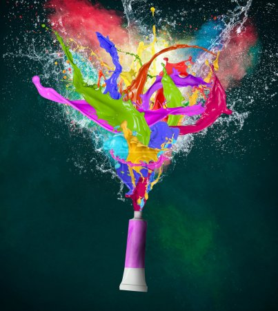 Photo for Colorful splashes in abstract shapes, close-up. - Royalty Free Image