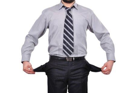 Photo pour Homme d'affaires permanent avec poches tourné à l'envers - image libre de droit