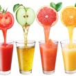 Juice flowing from fruits into the glass....