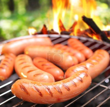 Photo pour Saucisses sur une grille. en arrière-plan un grand feu dans la forêt. - image libre de droit