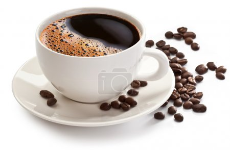Photo for Coffee cup and beans on a white background. - Royalty Free Image
