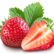 Strawberries with leaves. Isolated on a white back...