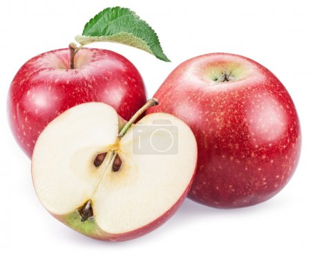 Photo for Red apples with slice on a white background. - Royalty Free Image