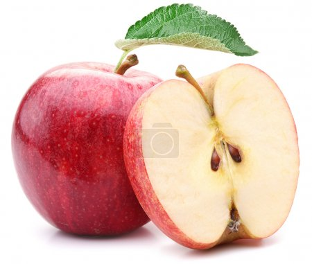 Red apple with leaf and slice.