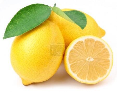 Photo for Lemons with leaves on a white background. - Royalty Free Image