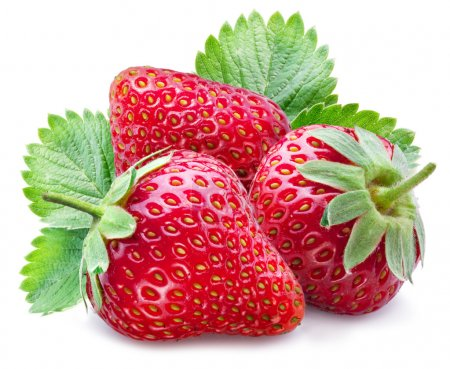 Three ripe strawberries with leaves.