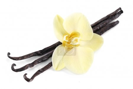 Vanilla sticks with a flower.