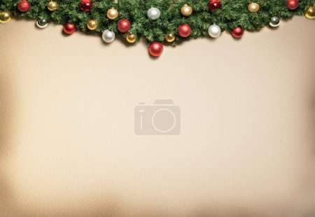 Photo for Christmas decoration with fur and baubles. - Royalty Free Image