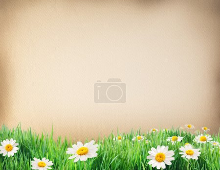 Photo for Water colour paper bodered with grass and flowers by on side. - Royalty Free Image