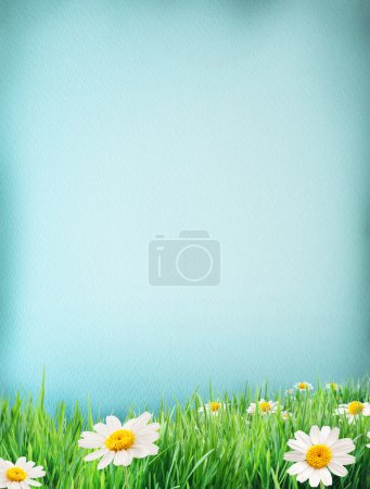 Photo for Blue water colour paper bodered with grass and flowers by on side. - Royalty Free Image