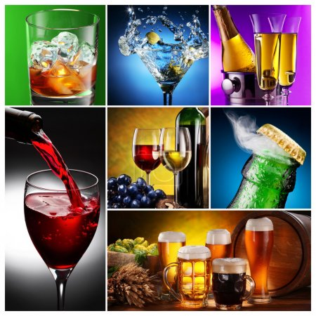 Photo for Collection of images of alcohol in different ways. - Royalty Free Image