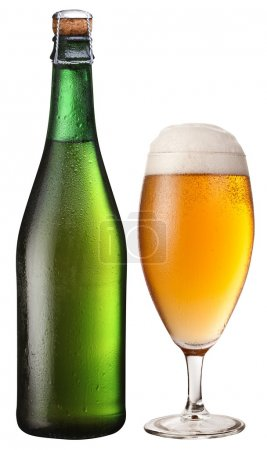 Glass and bottle of light beer