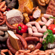 Variety of sausage products. Close-up shot....