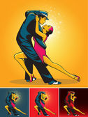 Dance pair in tango passion isolated over background color