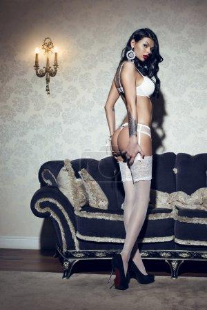Brunette in white lingerie