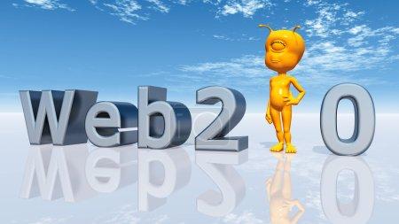Photo pour Illustration 3D générée par ordinateur avec un extraterrestre et le mot clé Web 2.0 - image libre de droit