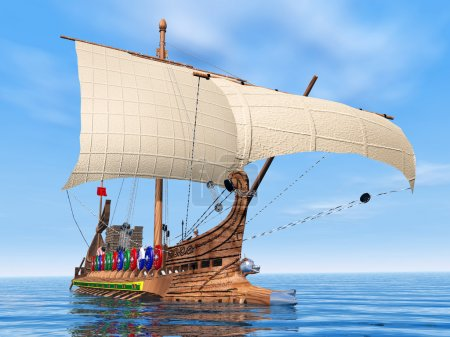Photo for Computer generated 3D illustration with an oar-driven warship from ancient Rome - Royalty Free Image