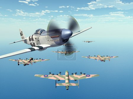 Fighter Bomber P-51 and Heavy Bomber Halifax