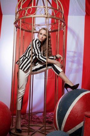Fashion acrobat woman in circus