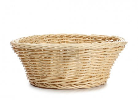 Empty wicker basket on a white background...