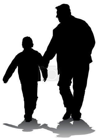 Illustration pour Dessin vectoriel d'un père et d'un fils pour une promenade - image libre de droit
