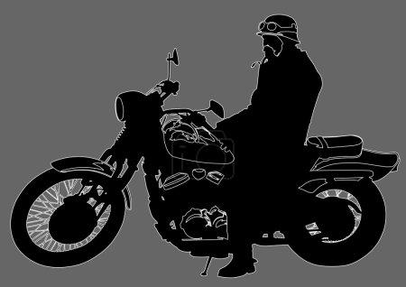 Motorcyclist on gray