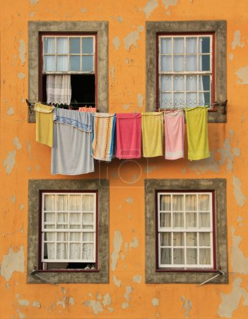 Traditional drying the linen in Portugals...